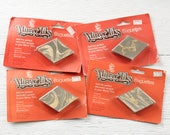 Vintage Mirror Tiles - 1970s Gold Marbled Diamond Mirror Decor / Mosaic Embellishments - 4 Packages of 6 Pcs.
