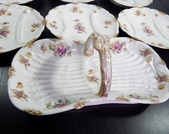 French Antique Limoges Asparagus Server NOW with 8 Matching Plates