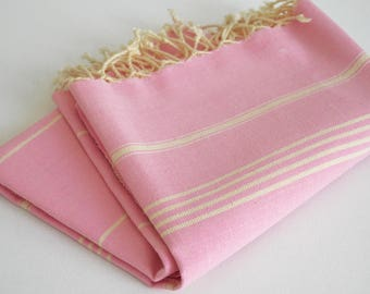 SALE 50 OFF/ Turkish Beach Bath Towel / Classic Peshtemal / Light Pink / Wedding Gift, Spa, Swim, Pool Towels and Pareo