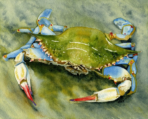 Blue Crab Print Printable Art Crab Art Home Decor By