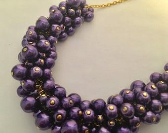 Violet Purple Pearl Gold Statement Necklace