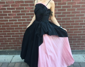 1950's Pink and Black Emma Domb Taffeta Ball Gown