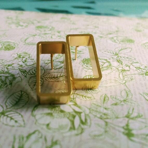 Gold earrings, 18K gold plated earrings, Rectangle studs