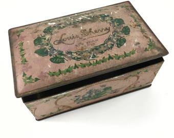 vintage Louis Sherry tin Pink Shabby Chic Paris New York Hinged Chocolate Box