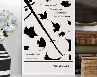 """Literary Quotes Poster """"Verlaine"""" Quote, Black and White Art Illustration, Large Wall Art Prints, Typography Print, Literary Gifts for Her"""