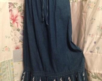 MEDIUM, Skirt Denim Boho, Hippie, Blue Ruffled Embroidered Bohemian Country Long Skirt