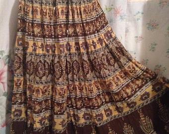 SMALL/MED, Skirt Hippie Boho Indie Bohemian Long Full Lightweight Brown Cotton Skirt