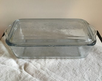 Fire King Sapphire Blue Antique Covered Loaf Baking Pan Kitchen Storage