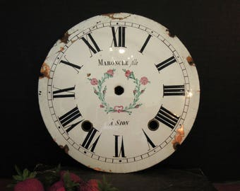 Vintage / Antique White Enamel French Clock Face over Copper / French Rustic / Maroncle fils à Sion Clock Face