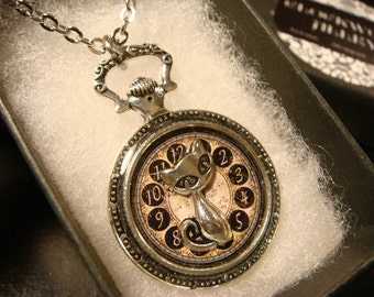 Cat over Clock Image- Pocket Watch Style Pendant Necklace (2287)