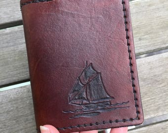 Leather Trifold Wallet - Hand Tooled Tall Ship - Wallet with Boat - Anniversary Gift - Gift for Groom - Handmade Leather Wallet