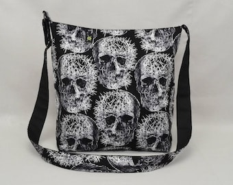 Shattered Skulls Large Crossbody Bag with Pockets, Black and White, Fabric with Canvas Liner
