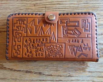 1960s Sweet Little Hand Tooled Leather Wallet, with a Coin Purse section and a Mirror- in Excellent Shape!