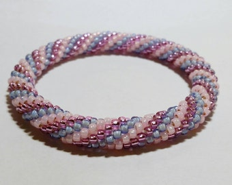 Cotton Candy Spiral Seed Bead Crochet Bangle - Ready to Ship