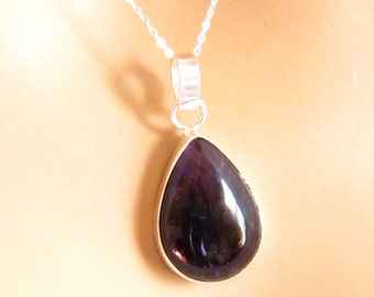 Amethyst Necklace Sterling Silver Chain, Purple Amethyst Necklace, Amethyst Jewelry, Purple Jewelry, Stone Jewelry, Natural Stone Jewelry