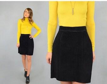 SPRING SALE 80's Black SUEDE Skirt
