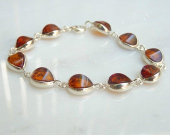 Baltic Amber Jewelry Chain Bracelet Cognac 7 3/4 inch 925 Silver
