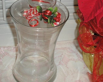 """Apothecary Clear Glass 10"""" Tall Jar W/Cover"""