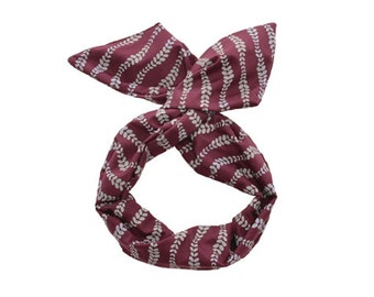 Twist Hair Scarf - Screen-printed Wire Headband - Gray Vines on Plum
