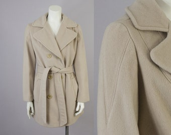 70s Vintage Tan Wool Short Belted Tailored Coat (M)
