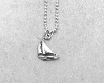 Sailboat Necklace, Sterling Silver, Handmade Jewelry, Everyday Necklace, Sailboats, Gifts for Her, Boat Jewelry