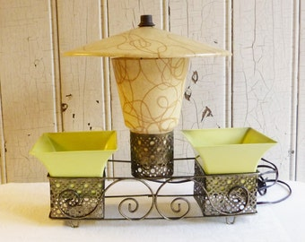 Vintage Mid-Century Fiberglass Cone Lamp with China Hat Shade and Planters - Yellow Spaghetti Drizzle - Chartreuse - 1950s