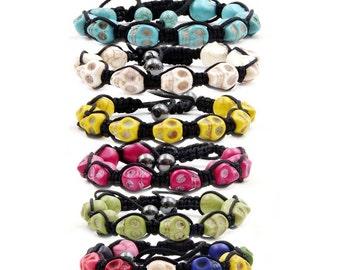 6Pcs Hand Knitted Imitation Turquoise Skull Beads Adjustable Bracelets  H017