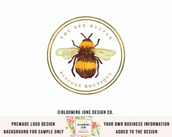 bee logo watercolor logo beekeeper logo photography logo soap shop logo craft shop logo sewing logo premade logo nature logo watermark logo