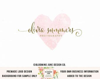 photography logo heart logo watercolor logo event planner logo photographers logo wedding logo boutique logo gold foil logo watermark logo