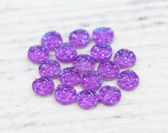 8mm Iridescent Purple Faux Druzy Crystal Clusters Cabochons Chunky BIG Nuggets