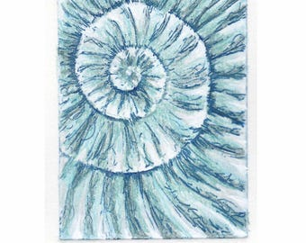 Original ammonite fossil zinc etching no.95 with mixed media jurassic Dorset coast fossil spiral fossil ammonites golden section