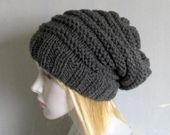 Knit Hat / Chunky Knit / Womens Hat / Beanie / Knit Beret / Oversized Hat /Beret/Oatmeal Hat /Women Knit Hat Slouchy Knit Hat