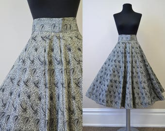 1950s Stiff Pleated Black Gingham Circle Skirt
