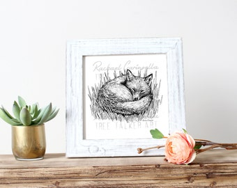 Sleepy Fox illustration- Giclee Fine Art Print - Pen and Ink Illustration - Sleepy Fox Drawing - Artist Rachael Caringella