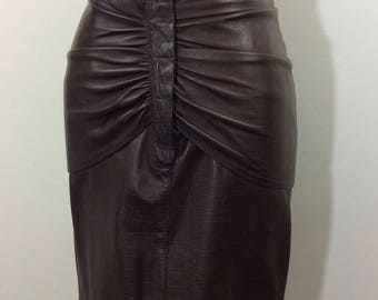 Vintage Gianni Versace Brown Leather skirt