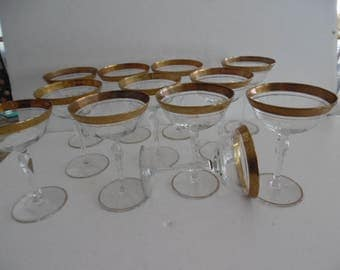 TIFFIN Minton franciscan GOLD ENCRUSTED champagne Wine Stems glasses