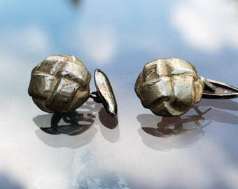 Button Cuff Links - Single-Sided Goldtone with Toggle
