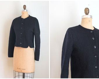 vintage boiled wool jacket - black boiled wool jacket / Eagle's Eye jacket - early 80s wool jacket / vintage boiled wool blazer