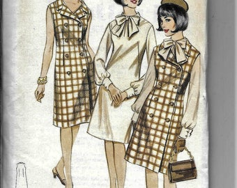 Vintage 60s Butterick 3325 Sewing Pattern Misses Semi Fitted A Line Dress Jumper UNCUT Size 16 Bust 36