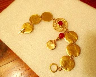Amazing Genuine ORANGE JADE Focal w/Ornate 22K Gold Fretwork, Six 24K Mykonos Gold Disks, Gold Disk & CARNELIAN Drop, Toggle Clasp Bracelet