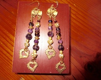 "Luxe 4 5/8"" Long Gold/Bronze Embossed HEART Tops w/2-Strands Genuine AAA Quality AMETHYST Dangles & Gold Heart Charms Pierced Earrings"
