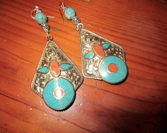 Impressive TIBETAN Floral Repousse Silver, Long Pierced Earrings w/Inlaid TURQUOISE & CORAL, Sterling Accents - Lightweight!