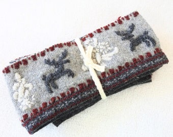 Wool Nordic Sweater Pieces REINDEER Embroidered Wool Strips Scrap Bundle Craft Supplies Fabric Felted Sweater Wool Scraps from WormeWoole