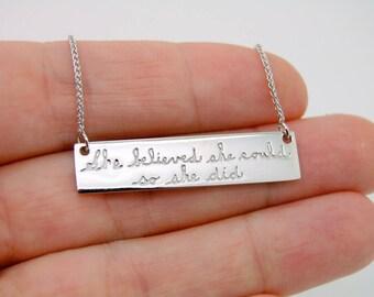 Customized Bar Necklace - Customizable Necklace for Graduates - College Graduation Necklace - Teacher Jewelry 14Kt Gold