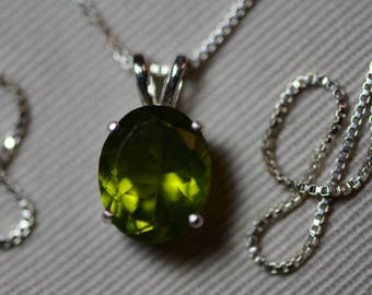 "Peridot Necklace, Peridot Pendant 3.52 Carats Appraised At 350.00 On 18"" Sterling Silver Necklace, Genuine Peridot Jewelry August Birthstone"