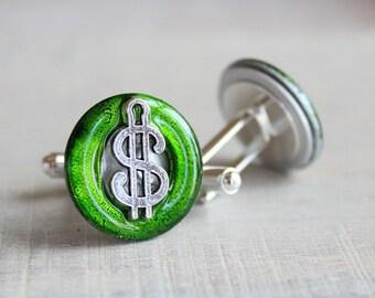 green dollar sign cufflinks, dollar cufflinks, anniversary gift, mens jewelry, mens gift, wedding jewelry, groomsmen gift, best man