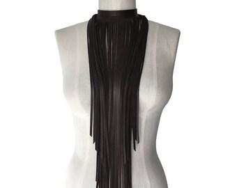 Brown Leather fringe necklace - Fringe choker - Boho Necklace - Leather Fringe scarf - Statement Necklace - Long fringe necklace  Dark brown