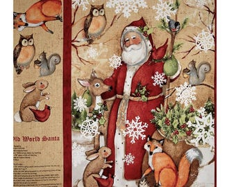 Old World Xmas Santa fabric Panel 100% cotton fabric for general arts and crafts and all sewing projects
