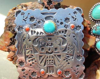 Southwestern Style Sterling silver Turquoise Coral Hopi Pendant