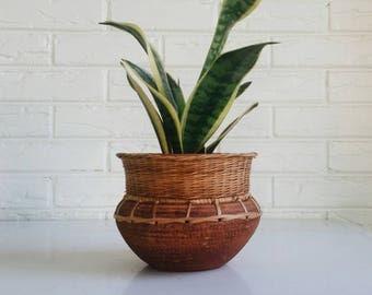 Vintage African Terracotta and Wicker Planter Pot from Ghana - Bohemian Boho Plant Holder